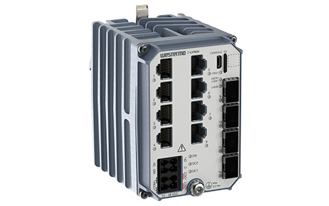 Westermo Industrial Gigabit Switch Lynx 5512 front left view.